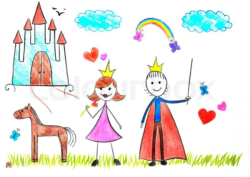 Stock image of 'Kids drawing princess and prince'
