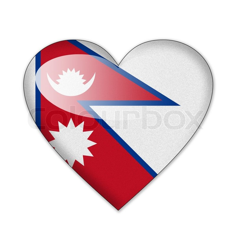 Nepal Flag in Space Nepal Flag in Heart Shape