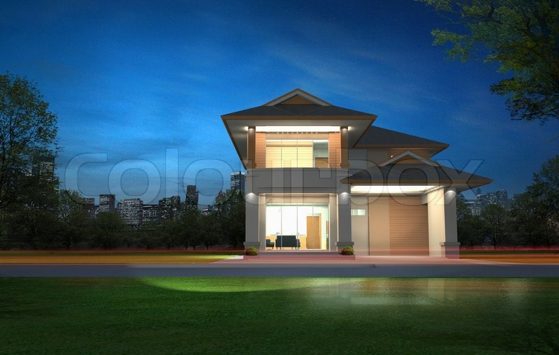 3d rendering of exclusive two floor tropical modern house | Stock Photo | Colourbox & 3d rendering of exclusive two floor tropical modern house | Stock ...