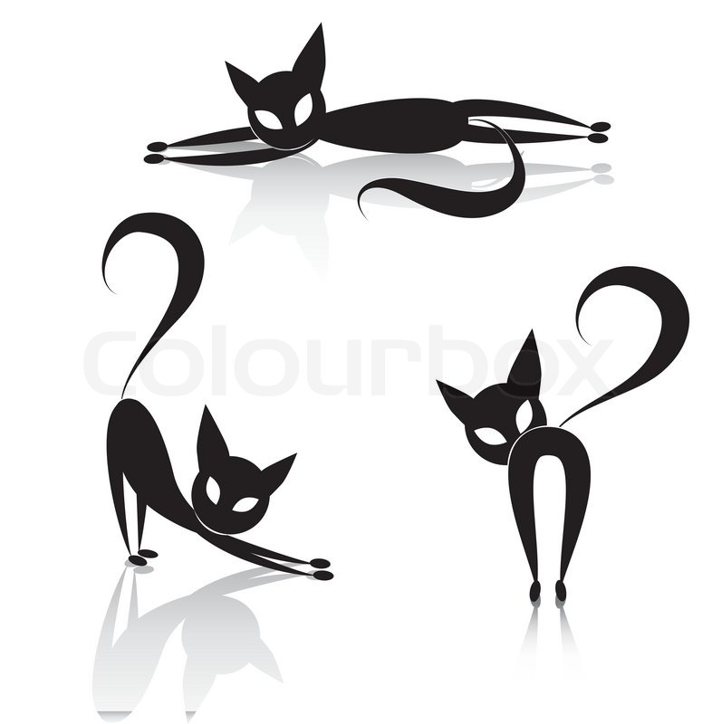 Black Cat Icon Silhouette Collection . Vector Animal Set