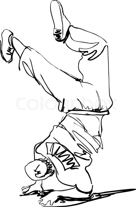 boys and girls dancing coloring pages | Guy dancing break dance | Stock Photo | Colourbox