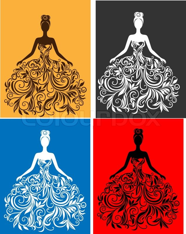 Vector silhouette of young woman in a dress | Stock Vector ...
