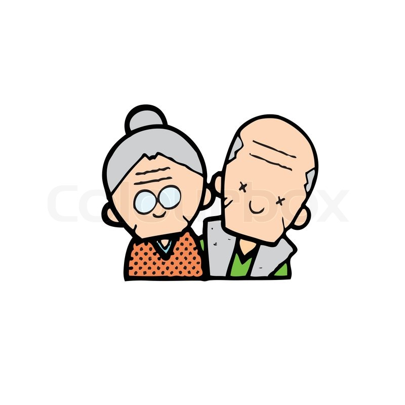 Happy old couple of frame on white background | Stock Vector | Colourbox