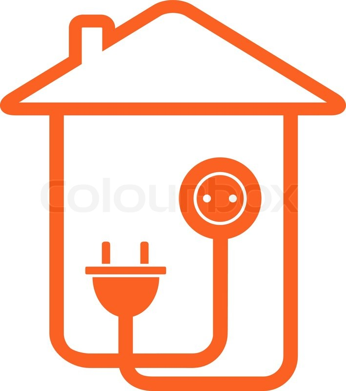 Yellow Isolated Electrical Symbol With House Silhouette Stock