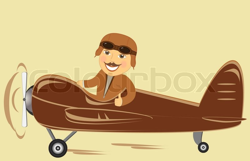 old plane with cartoon pilot showing thumb up stock vector colourbox rh colourbox com Airline Pilot Cartoon Airline Pilot Cartoon