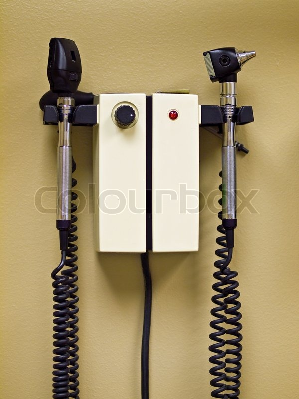 Professional Medical Equipment on the Wall of an Exam Room, stock photo