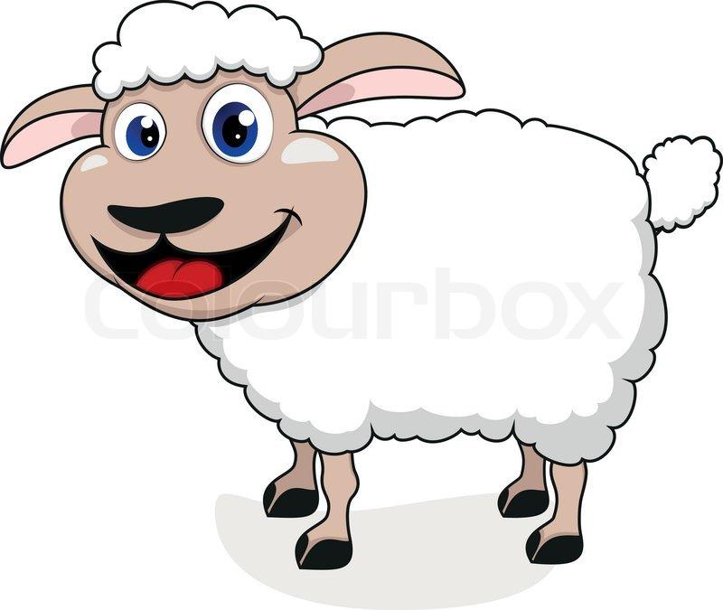 Vector Illustration Of Happy Sheep
