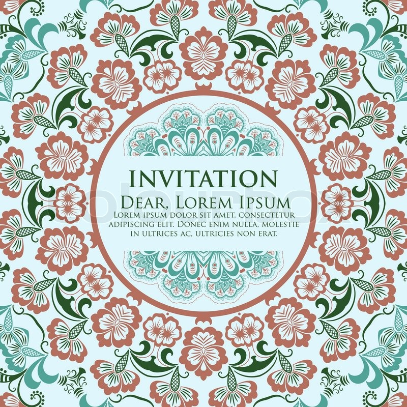 Vector invitation card with ornamental round lace with damask and vector invitation card with ornamental round lace with damask and arabesque elements mehndi style orient traditional ornament stock vector colourbox stopboris Images