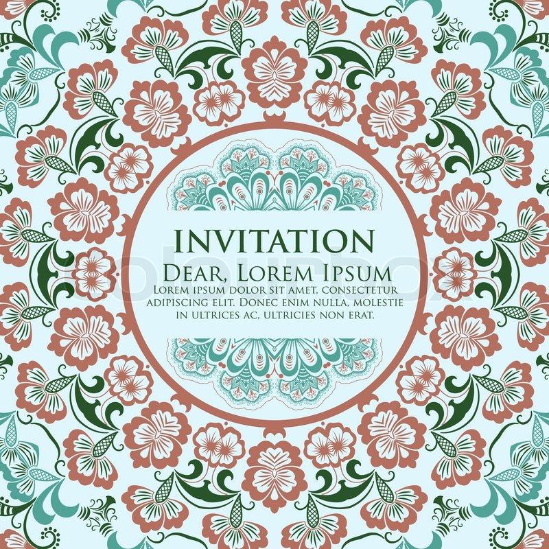 Vector invitation card with ornamental round lace with damask and vector invitation card with ornamental round lace with damask and arabesque elements mehndi style stopboris Images