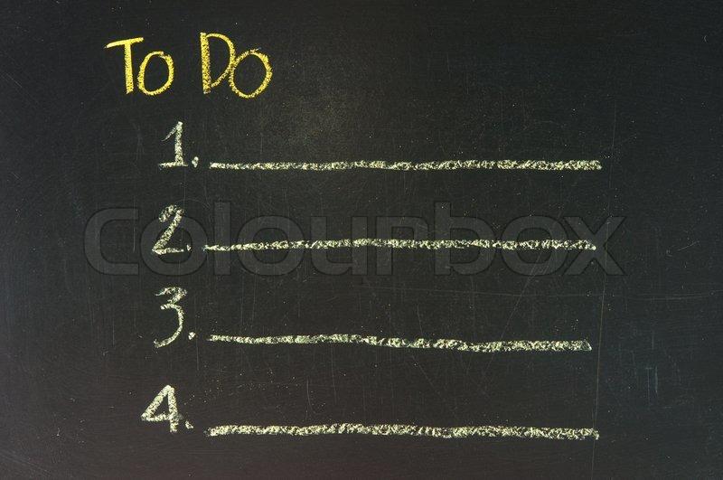to do list on a blackboard background stock photo colourbox