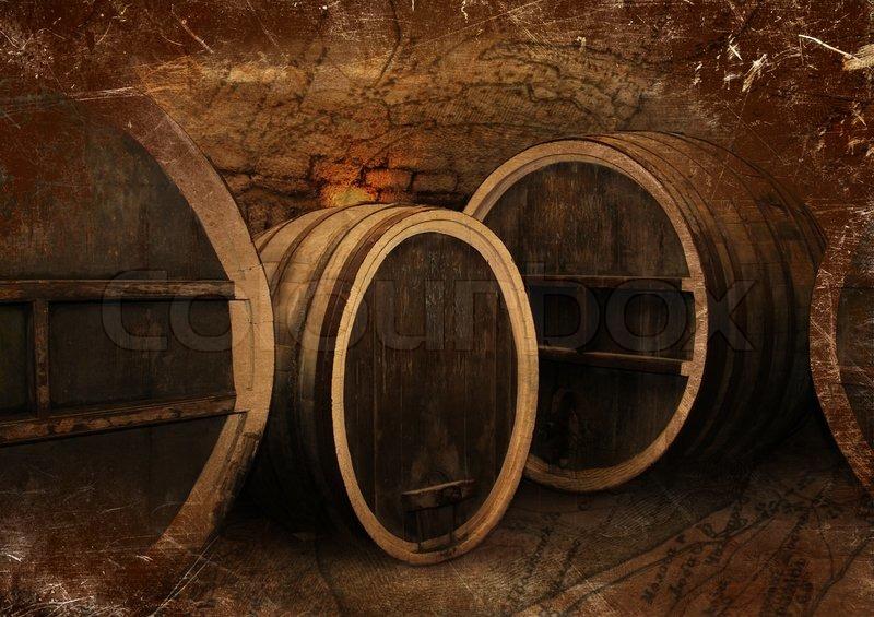 Wine cellar with old oak barrels in vintage style | Stock Photo | Colourbox & Wine cellar with old oak barrels in vintage style | Stock Photo ...