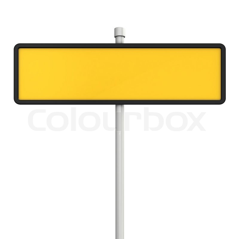 Blank yellow road sign