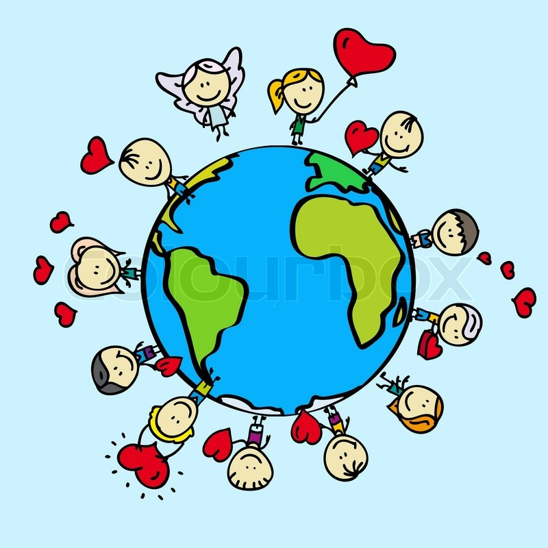 kids around the world with love valentine hearts stock