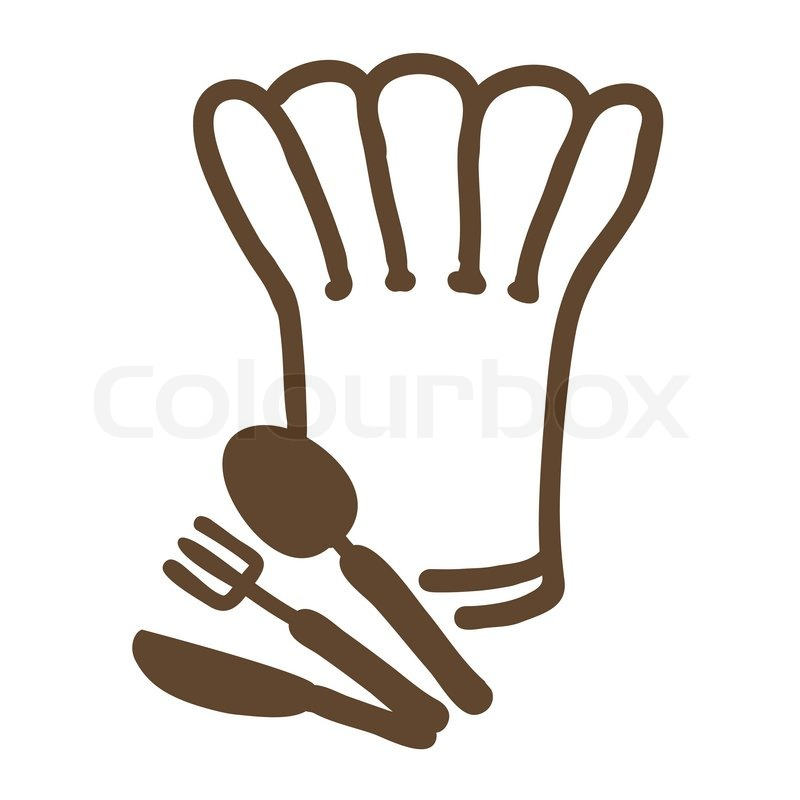 Chef hat ,fork,spoon and knife | Stock Vector | Colourbox