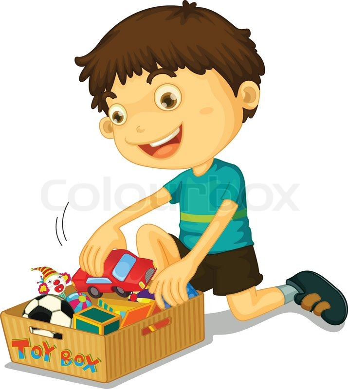 Boy With His Toys Stock Vector Colourbox