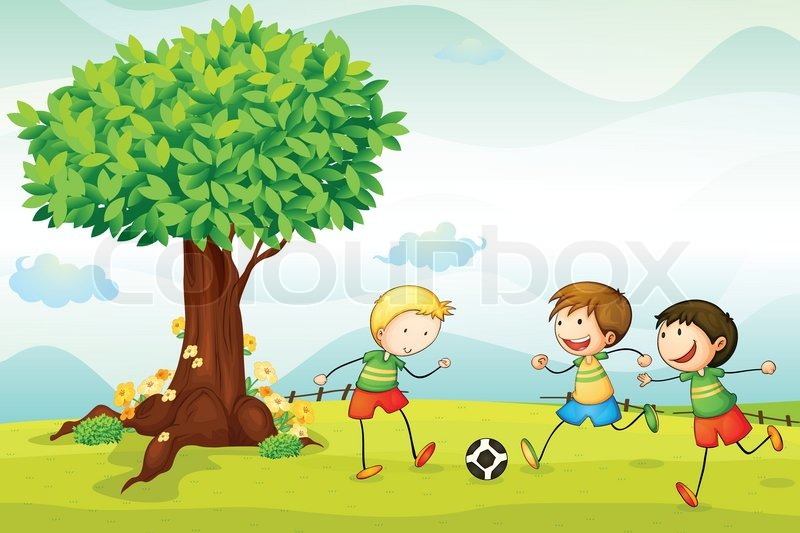 Kids playing football | Stock Vector | Colourbox