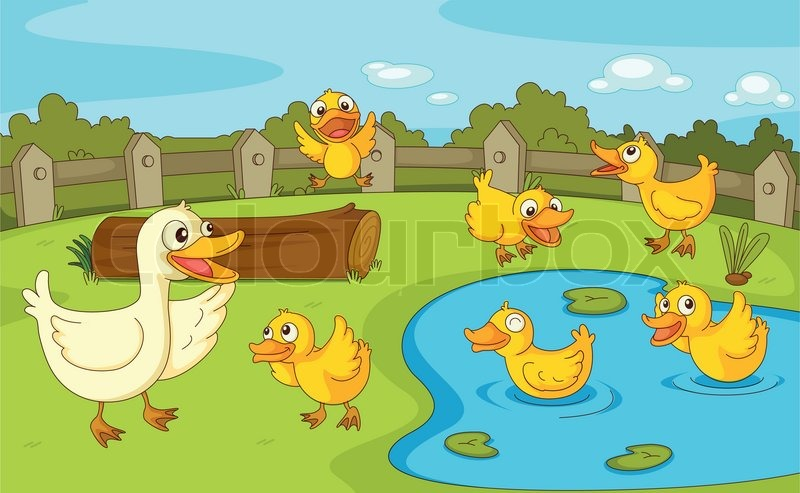 Ducks at the pond stock vector colourbox for Duck pond mural