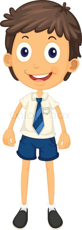 illustration of a boy in school uniform on a white stock vector