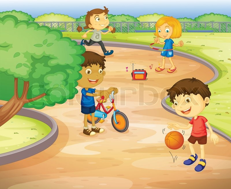 Kids playing in garden | Stock Vector | Colourbox