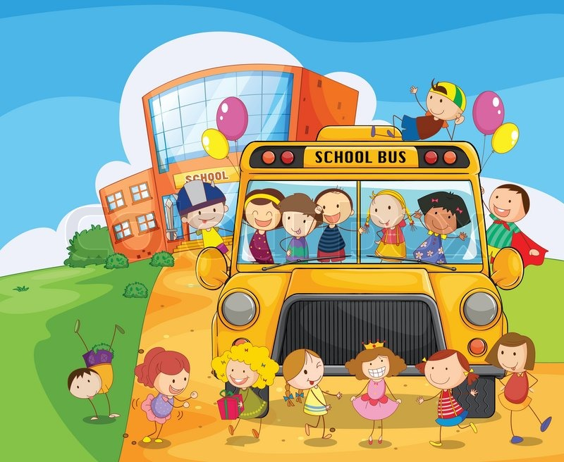 Illustration Of A School Bus And Kids Stock Vector Colourbox
