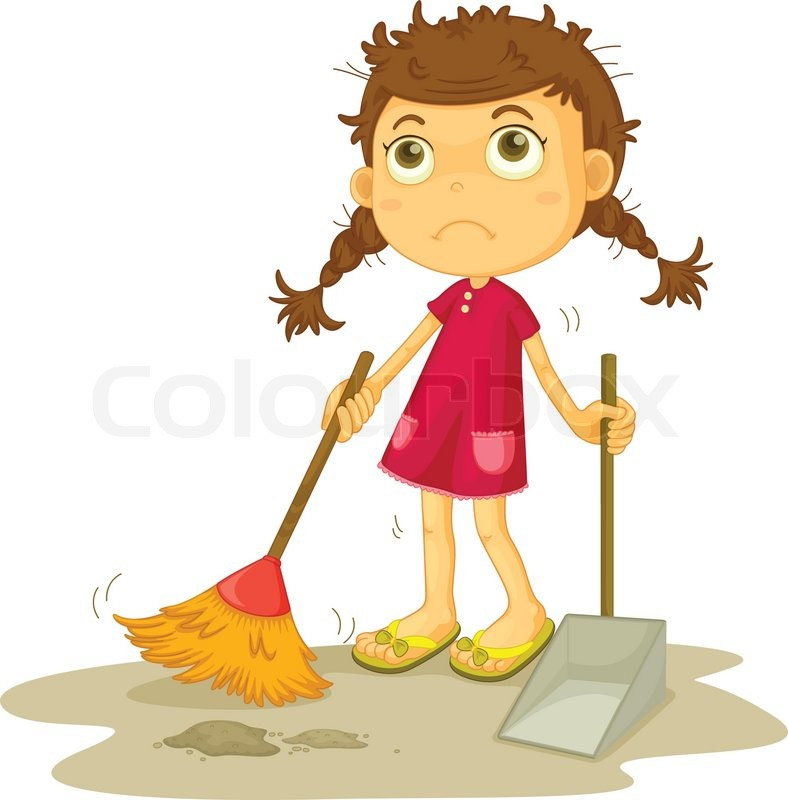 Girl Cleaning Floor Stock Vector Colourbox