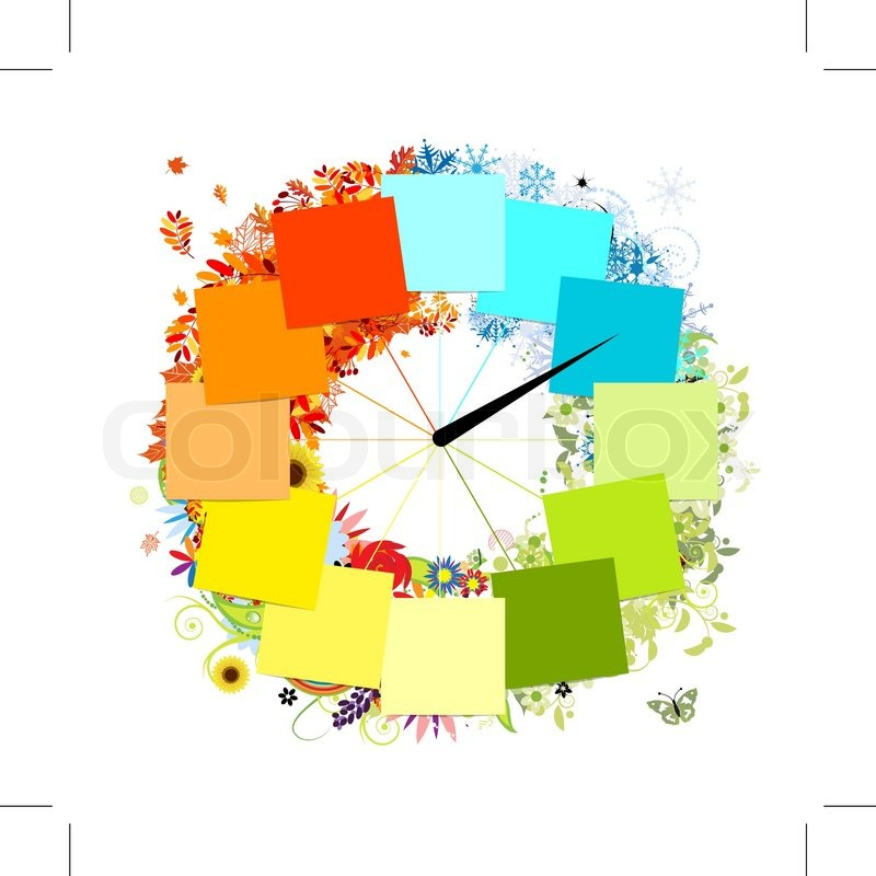 Stock vector of 'Design of clock Four seasons, concept'