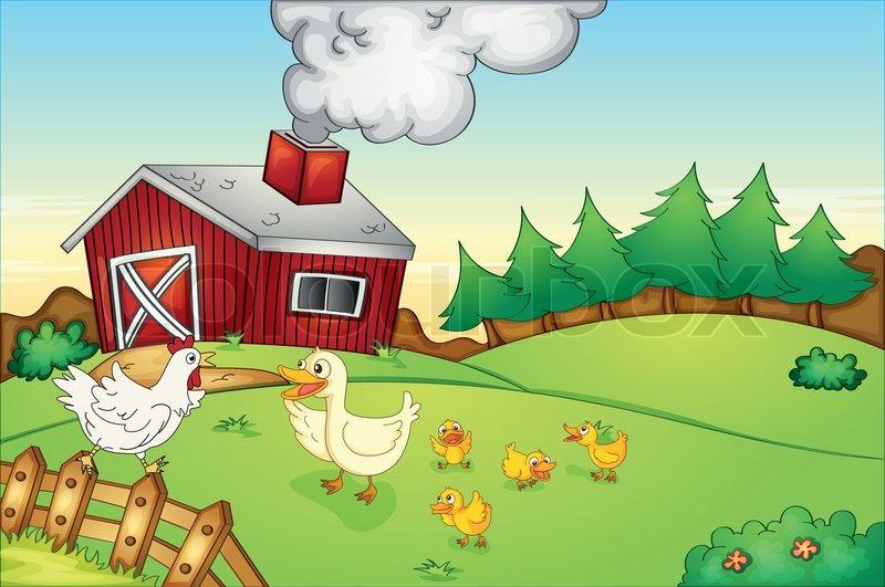 Farm house and birds |...