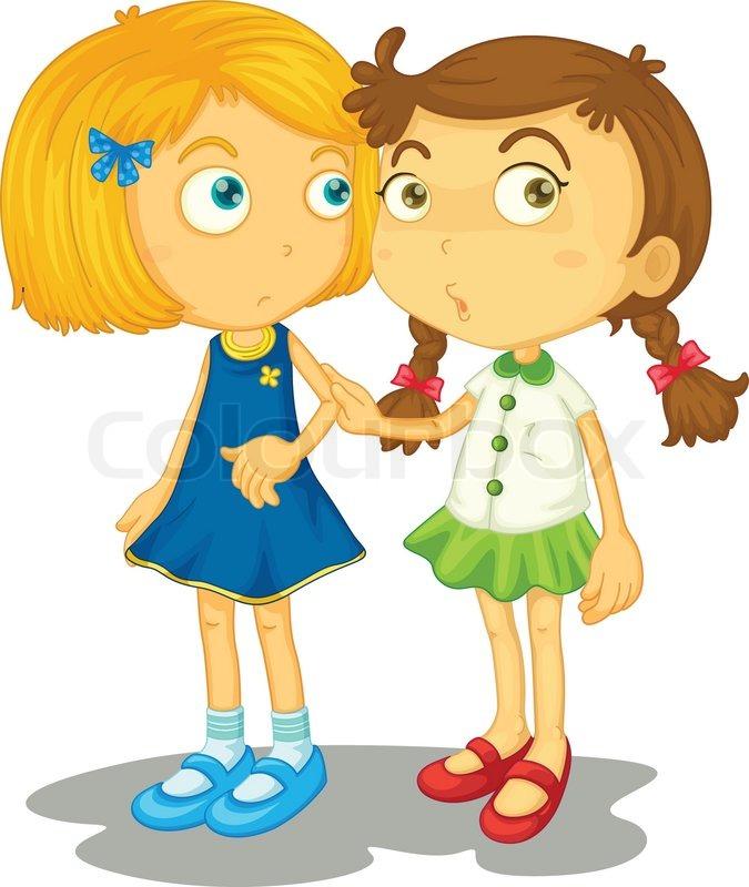 Two Kids Talking Clip Art