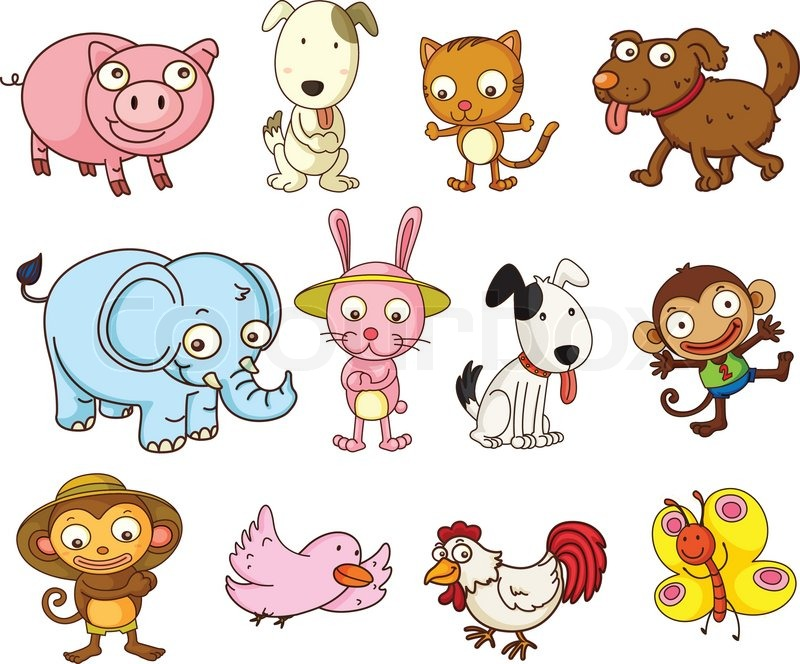 cartoon animals stock vector colourbox