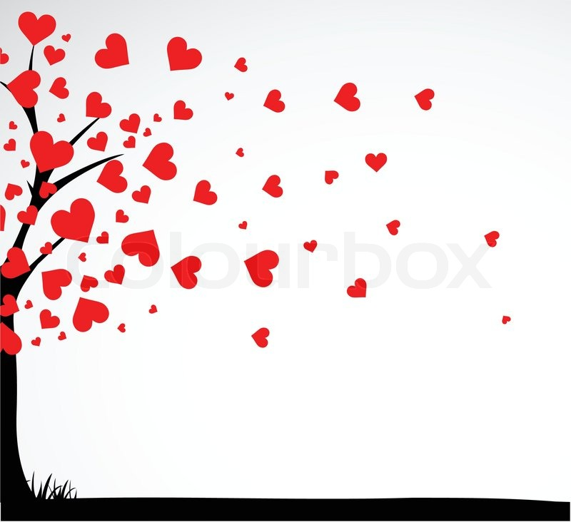Abstract Tree Made With Hearts With Bench Vector Stock