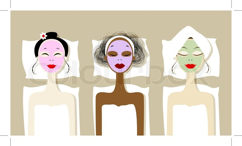 Wellness clipart  Hübsche Frauen mit kosmetischen Maske auf Gesichter im Wellness ...