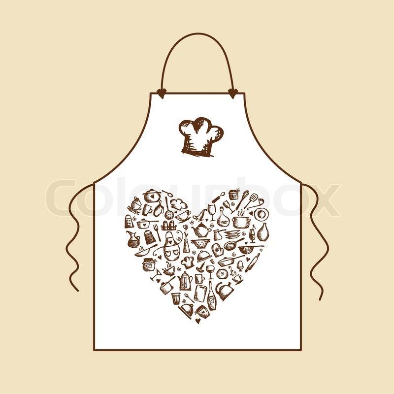 Sketch Of Kitchen Utensils : Stock vector of I love cooking! Apron with kitchen utensils sketch