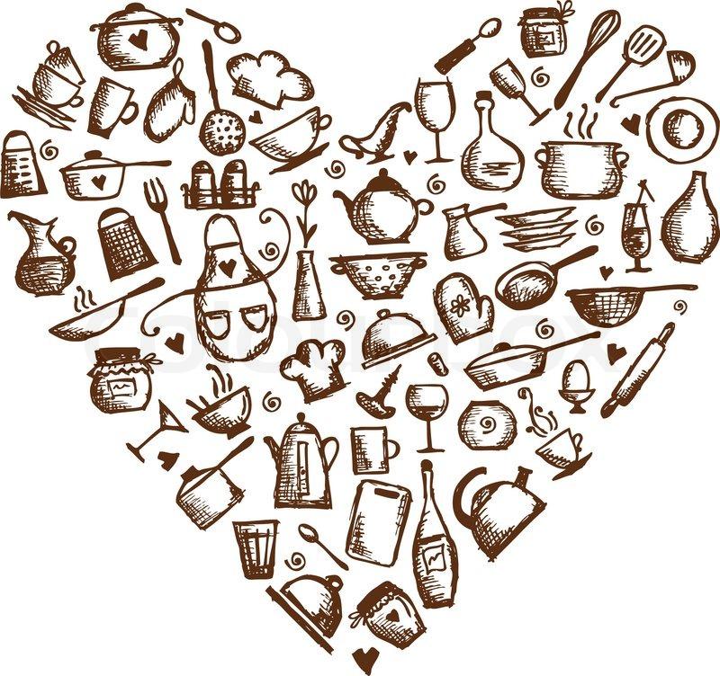i love cooking  kitchen utensils sketch  heart shape for your design