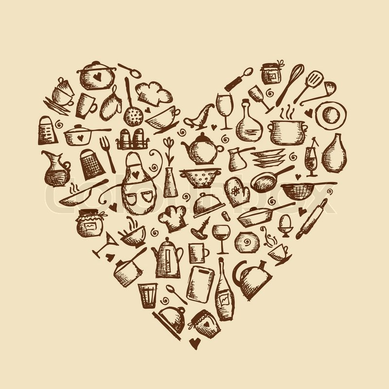 i love cooking  kitchen utensils sketch  heart shape heart shape vector ai heart shape vector silhouette