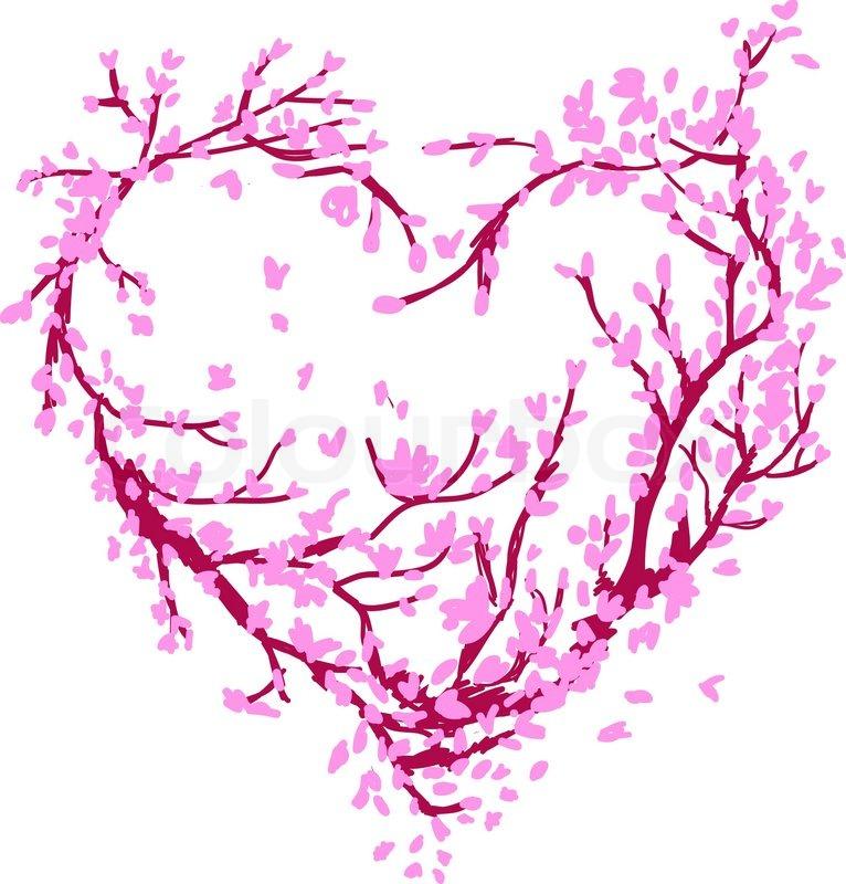 Heart Shape Made From Sakura Tree For Stock Vector Colourbox