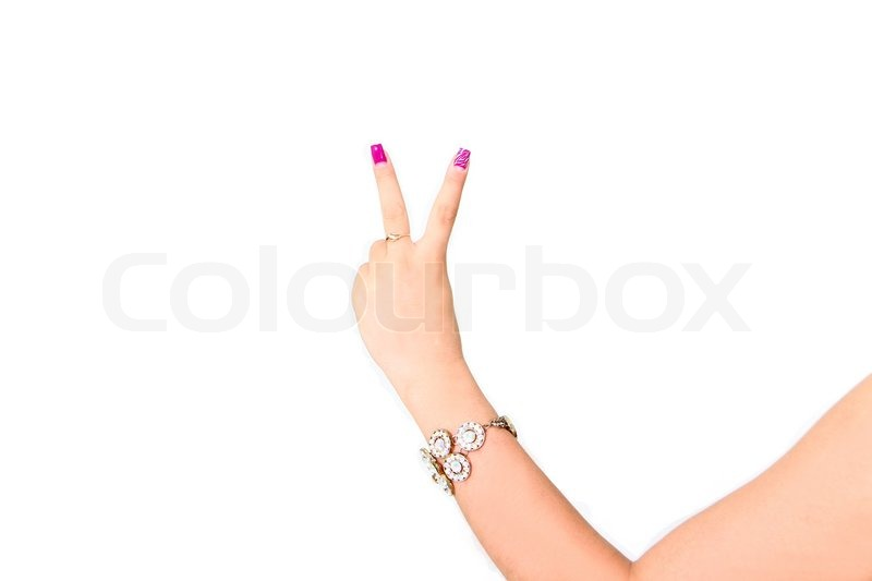 Woman Hand With Two Fingers Up In The Peace Or Victory Symbol The