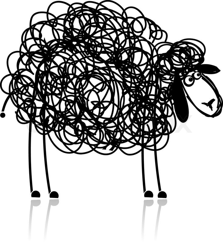 Funny black sheep, sketch for your ... | Stock Vector ...