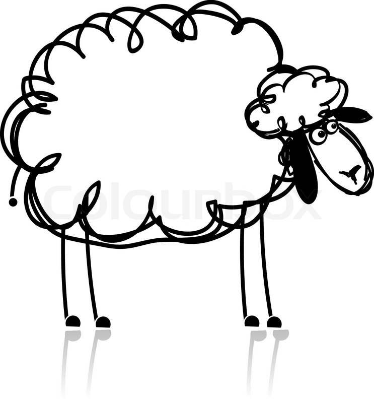Funny White Sheep Sketch For Your Design Stock Vector