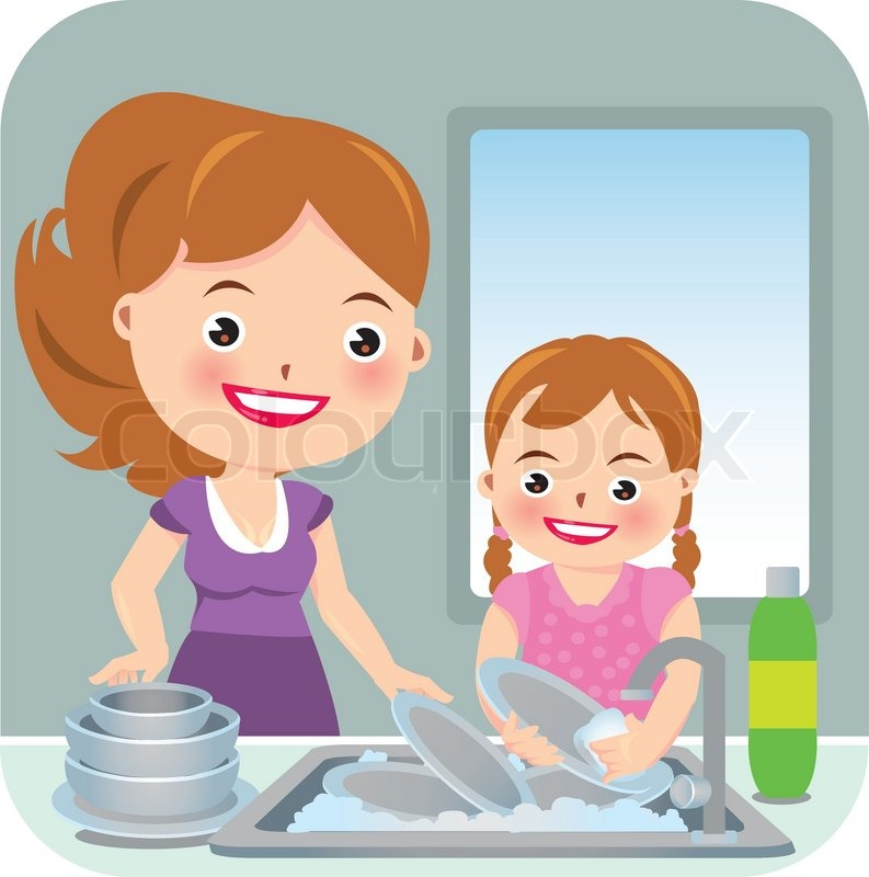 Illustration of mother and daughter washing dishes | Stock ...