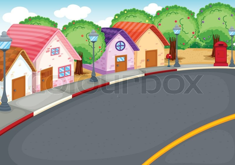 Group Of Houses On Street Stock Vector Colourbox
