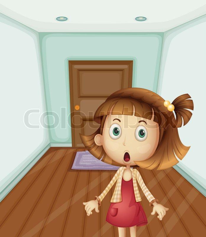 Girl Inside A House Stock Vector Colourbox