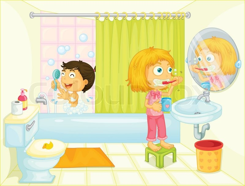 Kids im badezimmer stock vektor colourbox for Badezimmer clipart