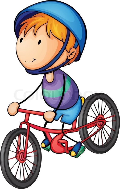 a boy riding on a bicycle stock vector colourbox