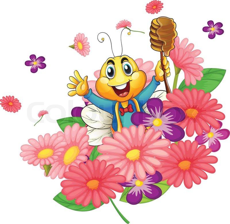 Картинки с пчелкой и букетиком