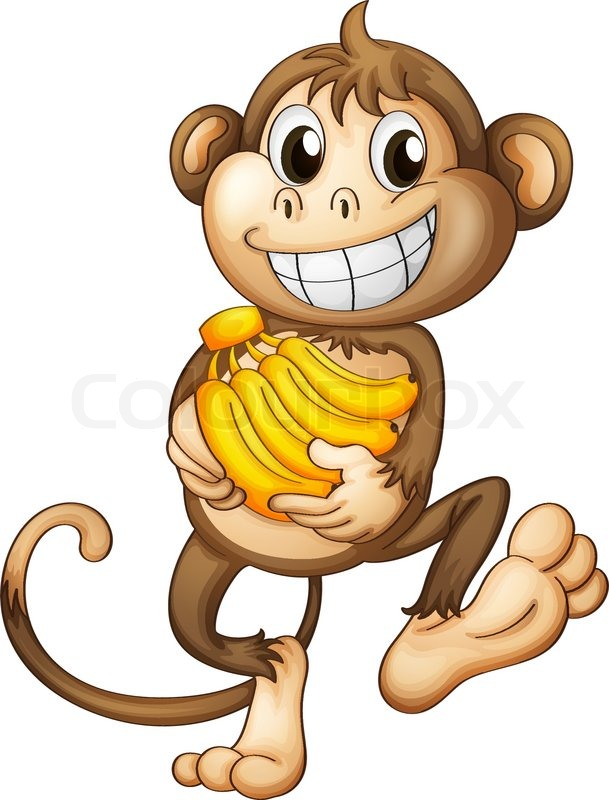 A happy monkey with bananas | Stock - 84.7KB