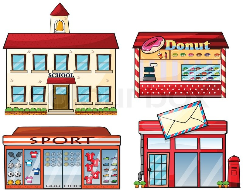 A School Donut Store Sport Shop And Stock Vector Colourbox