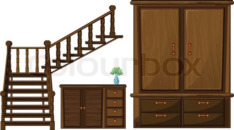 A Stair And Wooden Furnitures, Vector