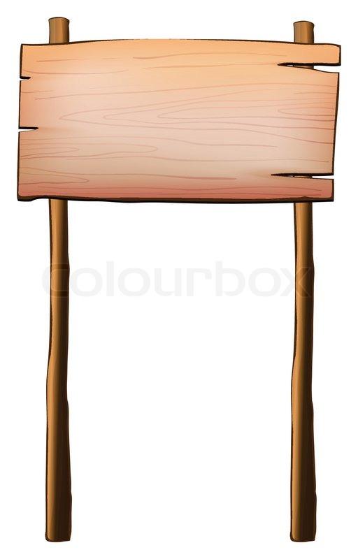eine leere holz schild mit zwei pfosten vektorgrafik. Black Bedroom Furniture Sets. Home Design Ideas