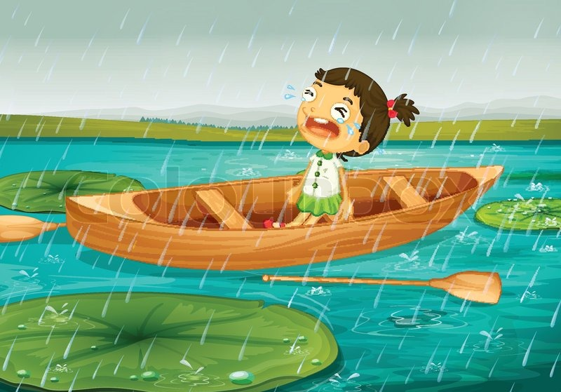 girl and boat stock vector colourbox
