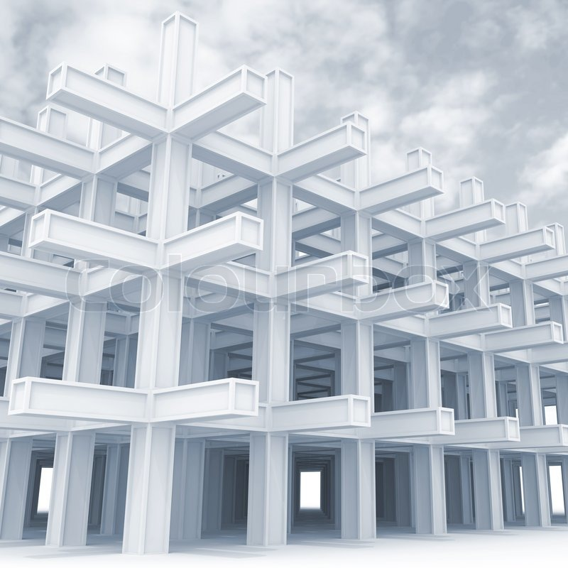 3d architektur abstrakt hellblauen monochromen hintergrund modern white verspannt konstruktion. Black Bedroom Furniture Sets. Home Design Ideas